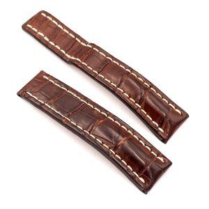 BREITLING Brown Croco Leather Strap, 22-20mm